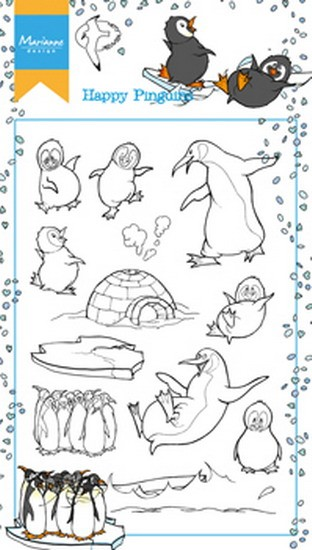 Marianne Design - Hetty Meeuwsen - Clearstamp - Hetty`s Happy Pinguins - HT1628