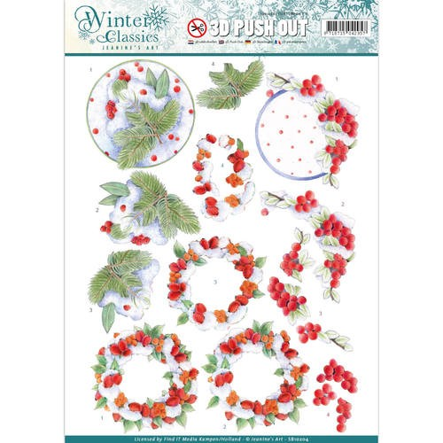 Jeanine`s Art - Uitdrukvel A4 - Winter Classics - Winterberries - SB10204
