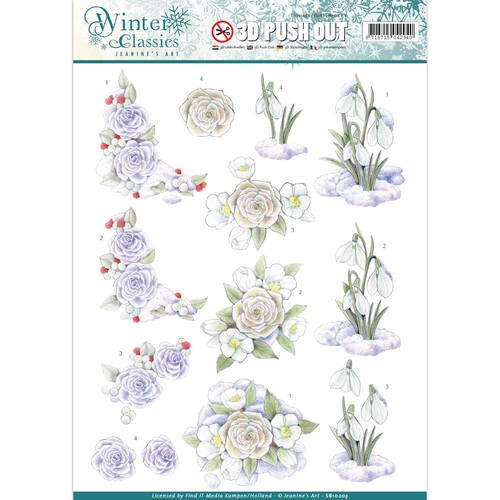 Jeanine`s Art - (3D-)Stansvel A4 - Winter Classics - Snow flowers - SB10203