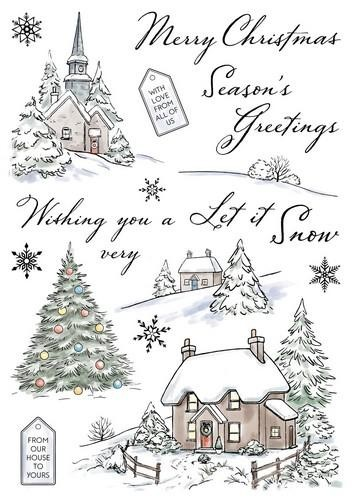 Wild Rose Studio`s - Clearstamp - Winter Cottages - AS006