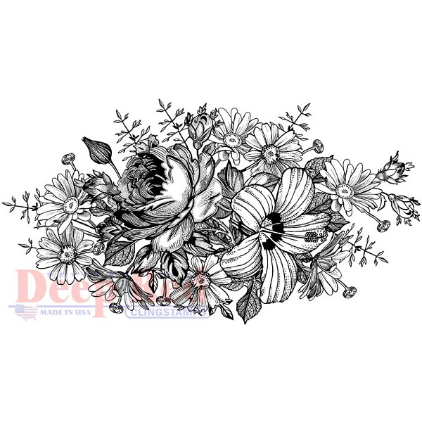 Deep Red - Cling Stamp - Floral Centerpiece - 4x505670