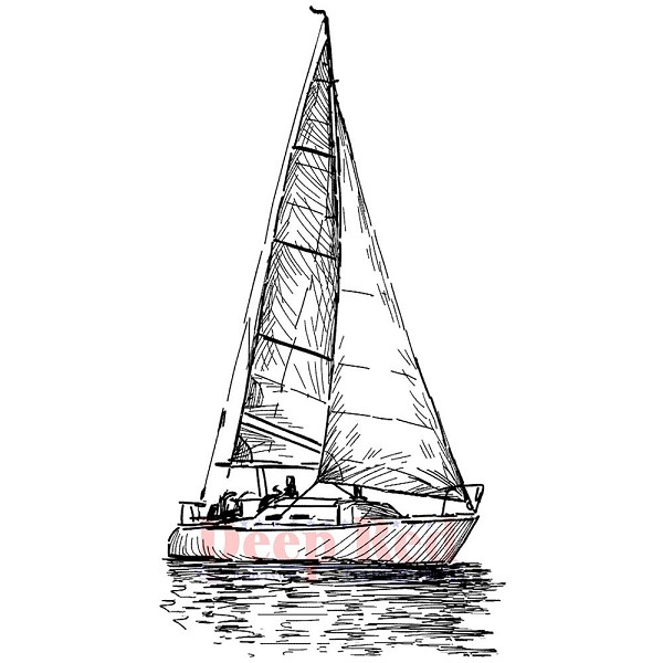 Deep Red - Cling Stamp - Sailing - 3x405656