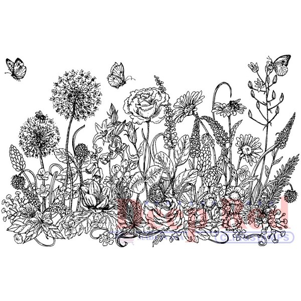 Deep Red - Cling Stamp - Summer Flowers Border - 3x505663