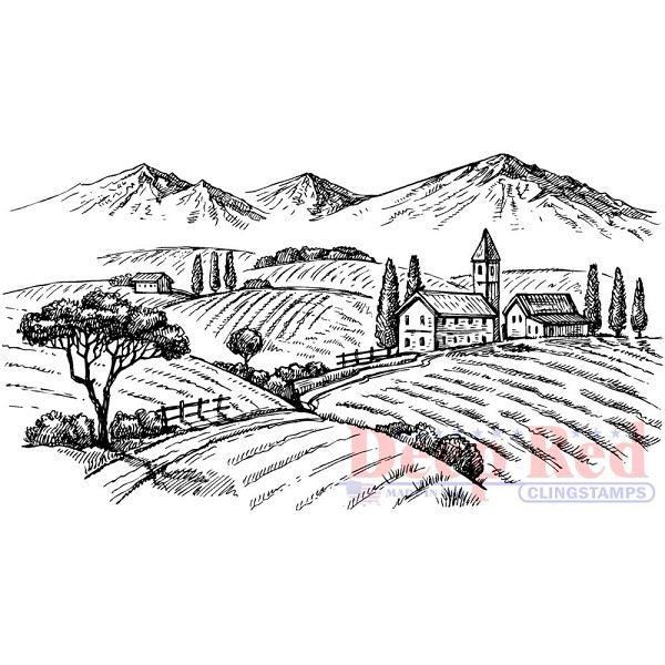 Deep Red - Cling Stamp - Rolling Hills Vineyard - 3x505673
