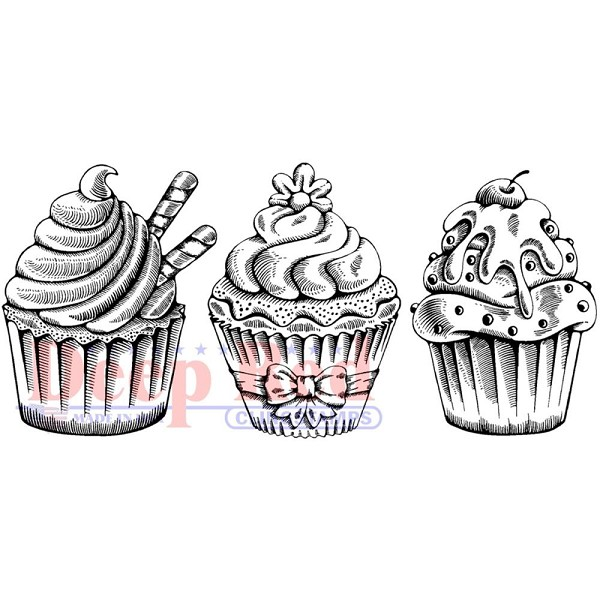 Deep Red - Cling Stamp - Cupcake Border - 3x405657