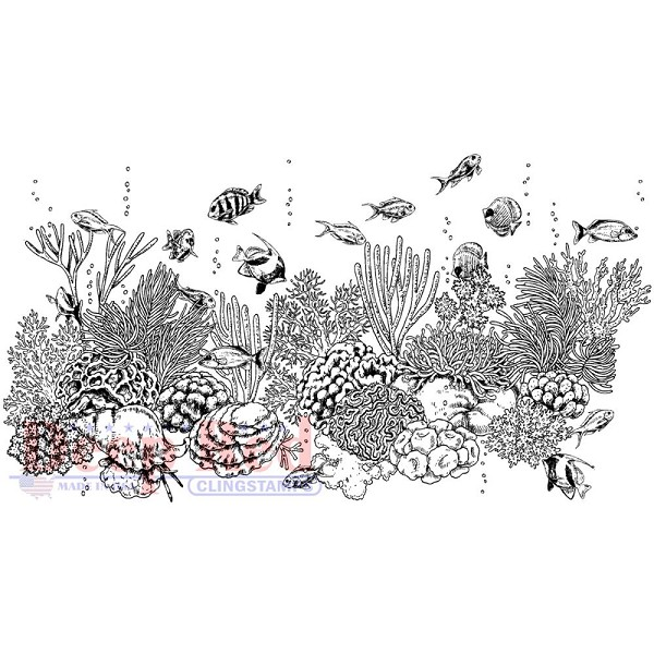 Deep Red - Cling Stamp - Coral Reef - 4x505671
