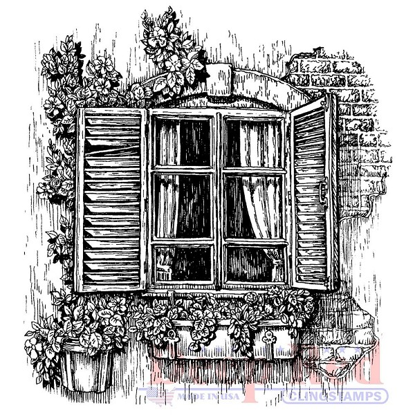 Deep Red - Cling Stamp - Window planter - 4x505668