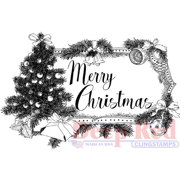 Deep Red - Cling Stamp - Merry Christmas - 3x505661