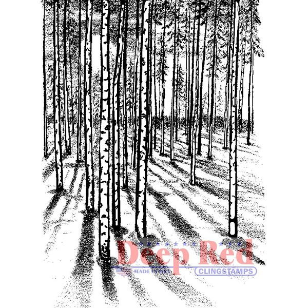 Deep Red - Cling Stamp - Moonlit Forest - 4x605592