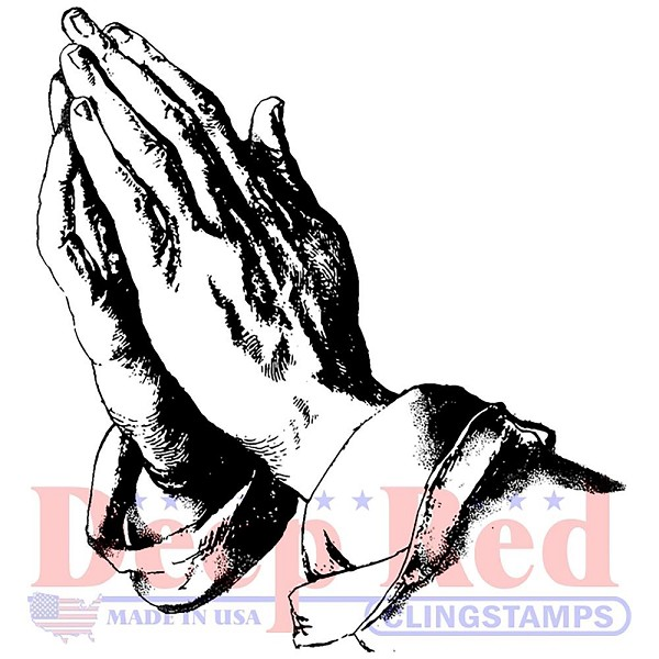 Deep Red - Cling Stamp - Praying hands - 3x405651