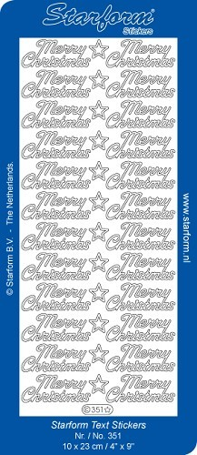 Starform - Stickervel - Feestdagen - Tekst - Merry Christmas: Zilver - 351