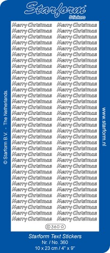 Starform - Stickervel - Feestdagen - Tekst - Merry Christmas: Zilver - 360
