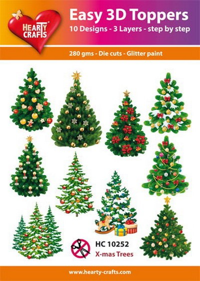 Hearty Crafts - Easy 3D Toppers - X-mas Trees - HC10252
