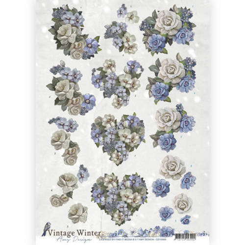 Amy Design - 3D-knipvel A4 - Vintage winter - Winter Flowers - CD10985