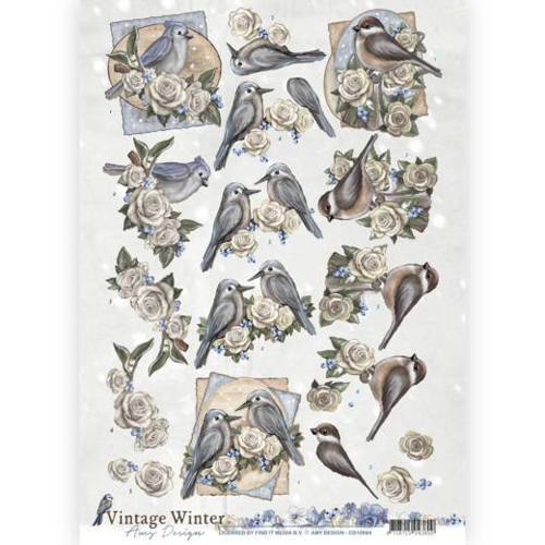 Amy Design - 3D-knipvel A4 - Vintage winter - Winterbirds - CD10984