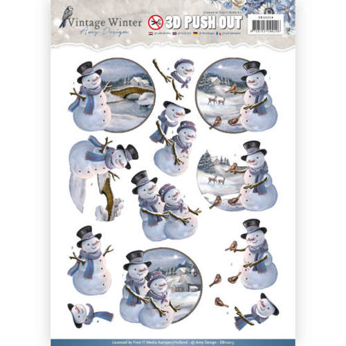 Amy Design - (3D-)Stansvel A4 - Vintage Winter - Snowmen - SB10214