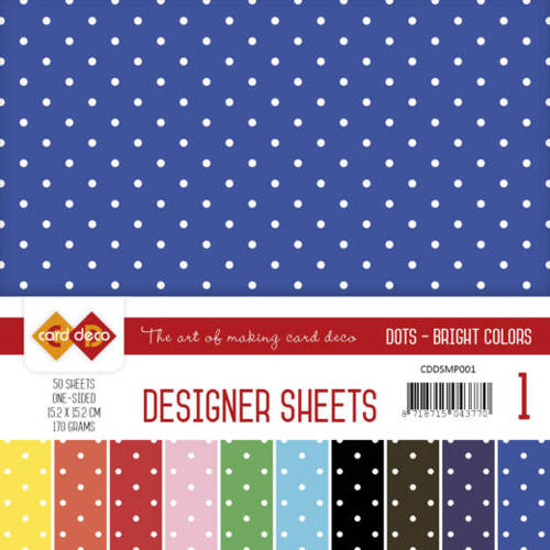 Card Deco - Paperpack - Designer Sheets - Bright Colors - CDDSMP001