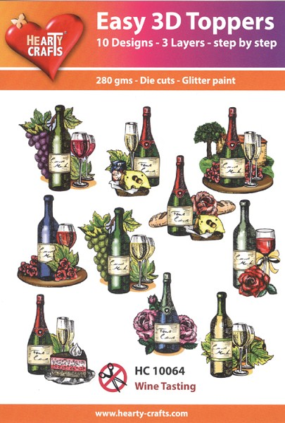 Hearty Crafts - Easy 3D Toppers - Wine Tasting - HC10064
