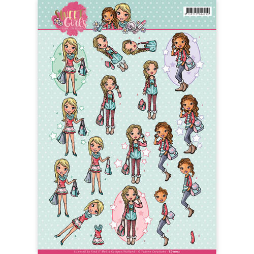 Yvonne Creations - 3D-knipvel A4 - Sweet girls - My World - CD11012