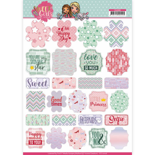 Yvonne Creations - (3D-)Stansvel A4 - Sweet Girls - Labels - YCL10006