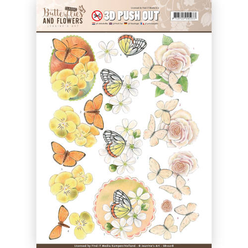 Jeanine`s Art - Uitdrukvel A4 - Butterflies and Flowers - Lovely Butterflies - SB10218