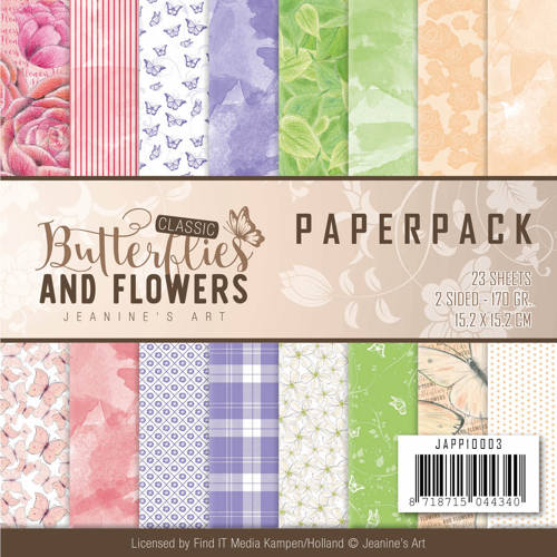 Jeanine`s Art - Paperpack - Classic Butterflies and Flowers - JAPP10003