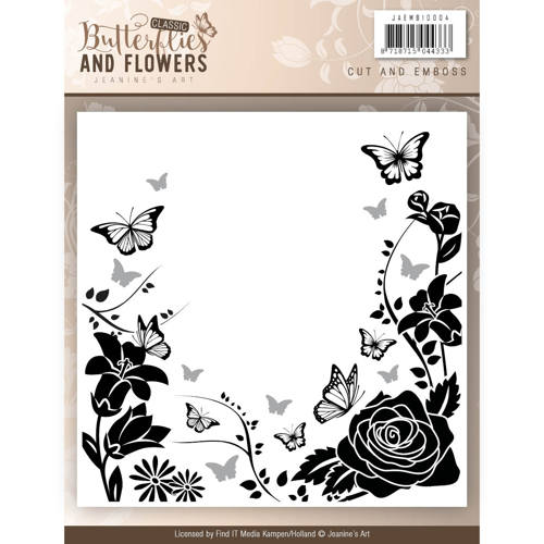 Jeanine`s Art - Embossing Folder - Classic Butterflies and Flowers - JAEMB10004