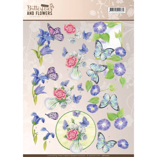 Jeanine`s Art - 3D-knipvel A4 - Butterflies and Flowers - Blue Flowers - CD11000