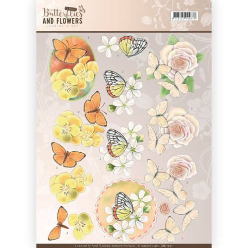 Jeanine`s Art - 3D-knipvel A4 - Butterflies and Flowers - Yellow Flowers - CD11001
