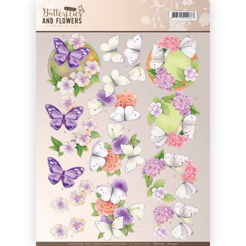 Jeanine`s Art - 3D-knipvel A4 - Butterflies and Flowers - Purple Flowers - CD11002