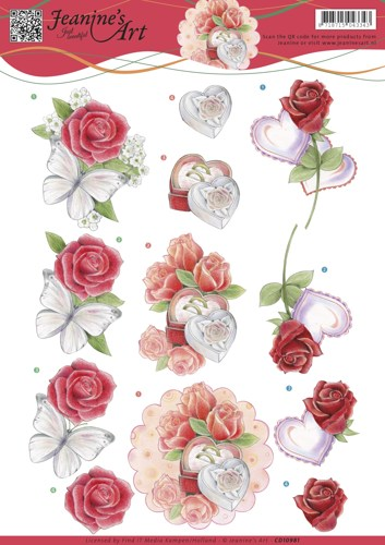 Jeanine`s Art - 3D-knipvel A4 - Roses and Hearts - CD10981