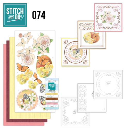 Card Deco - Kaartenpakket - Stitch & Do No. 74 - Vlinders en Bloemen - STDO074
