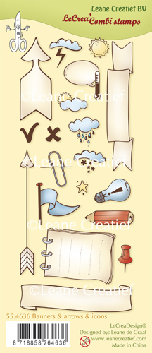 Leane Creatief - Clearstamp - Banners, arrows and icons - 55.4636