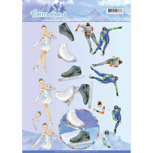 Jeanine`s Art - 3D-knipvel A4 - Wintersports - Ice Skating - CD11030