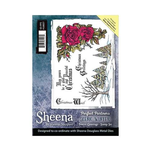 Sheena Douglass - Cling Stamp - Scenic Winter - Festive Greetings - SD-PPS-FGREET