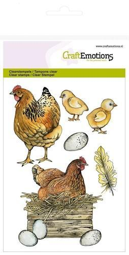 CraftEmotions - Clearstamp - Chicken with chicks - 130501/1269