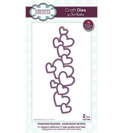 Creative Expressions - Die - The Finishing Touches Collection - Cascading Hearts - CED1500