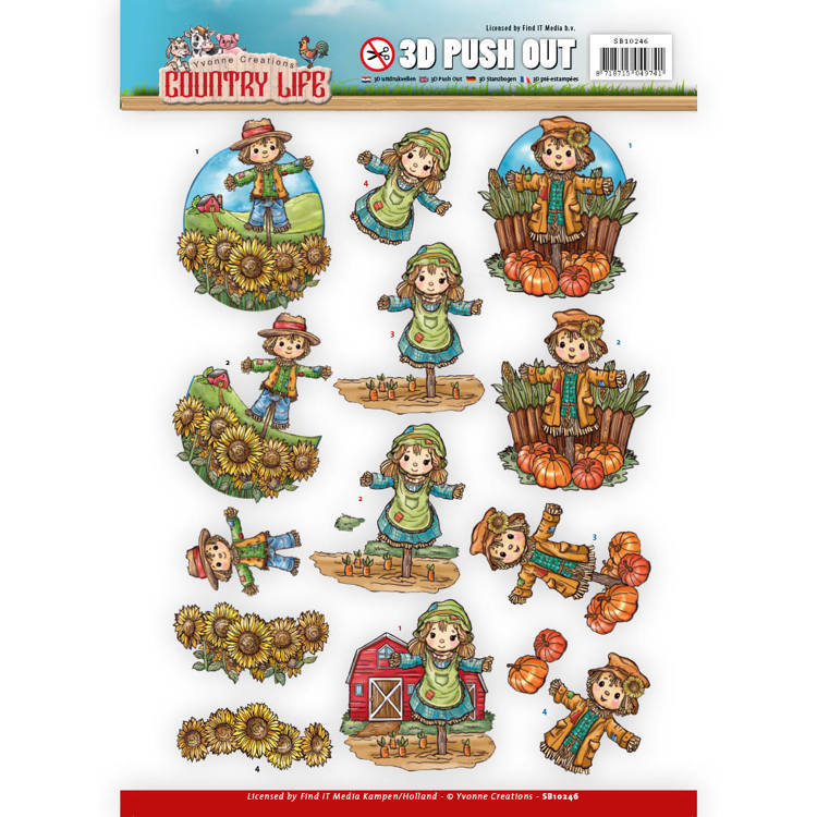 Yvonne Creations - (3D-)Stansvel A4 - Country Life - Scarecrow - SB10246