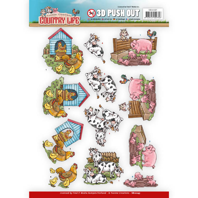 Yvonne Creations - (3D-)Stansvel A4 - Country Life - Farm Animals - SB10247