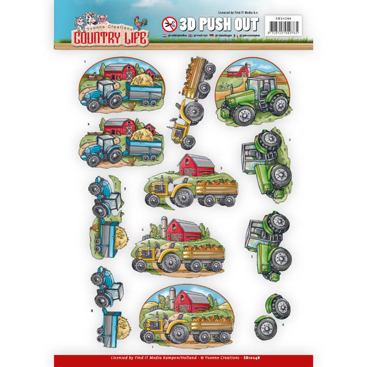 Yvonne Creations - (3D-)Stansvel A4 - Country Life - Tractors - SB10248
