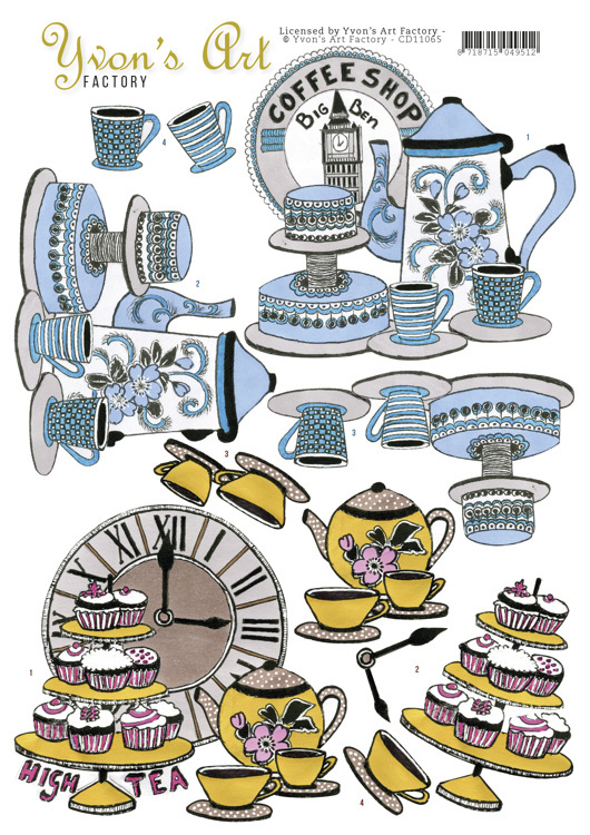 Yvon`s Art Factory - 3D-knipvel A4 - High Tea - CD11065