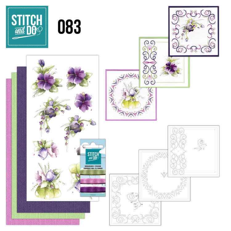 Card Deco - Kaartenpakket - Stitch & Do No. 83 - Purple Flowers - STDO083
