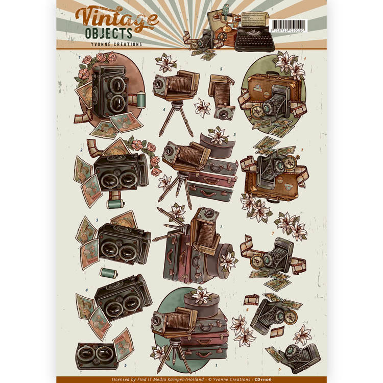 Yvonne Creations - 3D-knipvel A4 - Vintage Objects - Vintage Cameras - CD11106