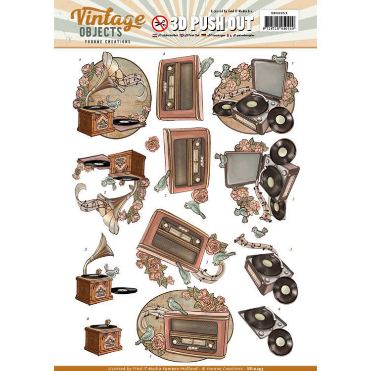 Yvonne Creations - (3D-)Stansvel A4 - Vintage Objects - Vintage Music - SB10253