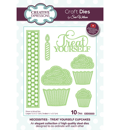 Creative Expressions - Die - The Necessities Collection - Treat Yourself cupcakes - CED23023