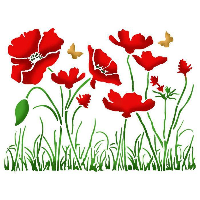 Stamperia - Maskingstencil - Poppies - KSD269