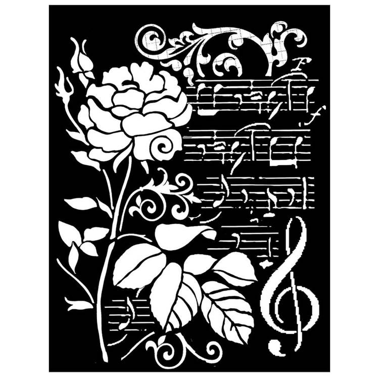 Stamperia - Maskingstencil - Rose & Music - KSTD032