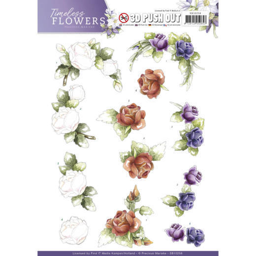 Precious Marieke - (3D-)Stansvel A4 - Timeless Flowers - Roses - SB10258