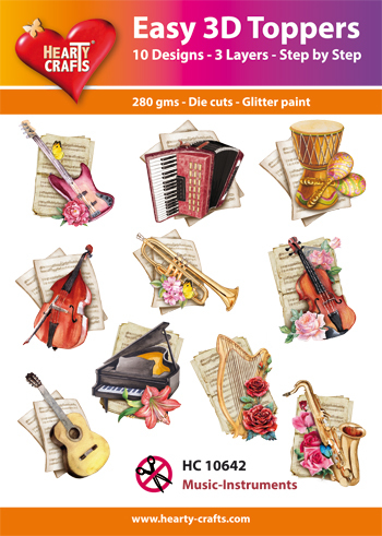 Hearty Crafts - Easy 3D Toppers - Music Instruments - HC10642