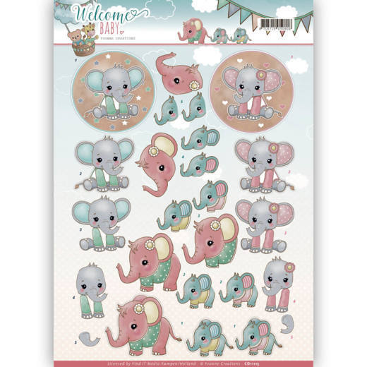 Yvonne Creations - 3D-knipvel A4 - Welcome Baby - Little Elephants - CD11115